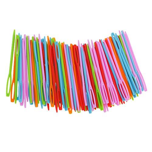 magideal 100Stück Kunststoff Nähnadeln für Kid Wolle Kreuzstich Stricken Crochet 7cm -