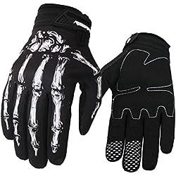 Cycling Handschuhe, spohife pantalla táctil Esqueleto de costura Full dedos silicona Guantes Grip Ciclismo para bicicleta Ciclismo MTB, color blanco, tamaño large