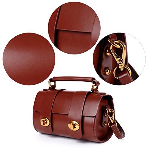 Mini Handtasche Damen Klein Echtleder Schultertasche Small Umhängetasche Vintage Tasche für Frauen Mädchen Braun Braun