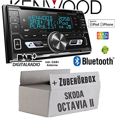 Skoda Octavia 2 1Z 2-Din Blues Stream Etc. - Autoradio Radio Kenwood DPX-7100DAB - 2DIN Bluetooth DAB+ Digitalradio USB CD MP3 Einbauzubehör - Einbauset