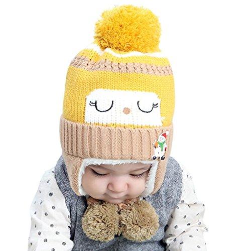 URSING Unisex Hüte & Mützen Baby Jungen Mädchen Winterbeanie Warm Hut Kinder Stricken Ball Hüte Super gemütliche Earflap Cap (Gelb)