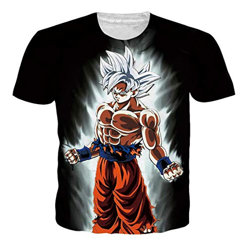 OPCOLV 3D-Druck Dragon Ball Goku T-Shirt Lustige Grafik Kurzarm T Top Herren Top Gym Laufen Sweatshirt Workout T-Shirt (Dragon Frau Ball-t-shirts)