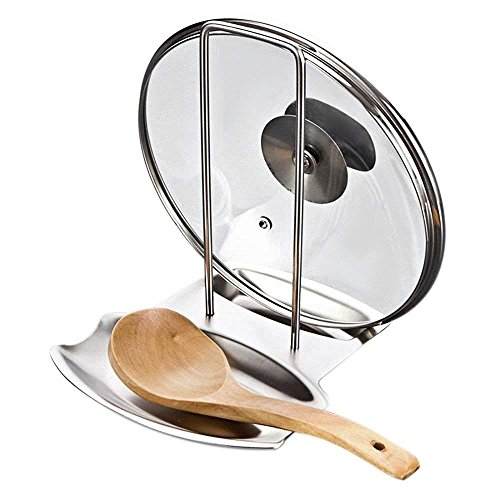 Delaman Kitchen Pot Cover Rack Utensils Lid Holder Spoon Rest Shelf Stainless Steel Stand Pylons Cookware Storage Tools