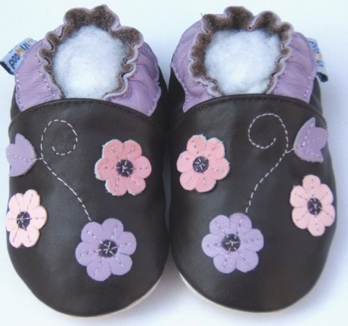 Lederhausschuhe Jinwood Krabbelschuhe Baby Hausschuhe 3Blume lila