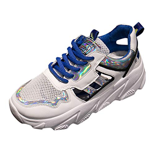 Damen Plateau Sneaker mit Keilabsatz Turnschuhe Freizeitschehe BeiläUfige Laufschuhe Plattform Sport Sportschuhe ErhöHen Atmungsaktiv Schuhe (EU:37, Blau)