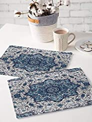 Brick Home Flower Ethnic Digital Printed Table Mat (Set of 2) (Blue)