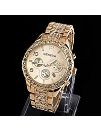 bf1c2ab87158 JYL Relojes Mujer Moda Relojes de Pulsera Damas Oro Acero Cuarzo Reloj  Geneva Casual Crystal Relojes