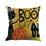 VEMOW Halloween Dekoration 4 STÜCK Home Auto Bett Sofa Dekorative Brief Kissenbezug Kissenbezug 45 * 45cm(Mehrfarbig D, 45 * 45cm)