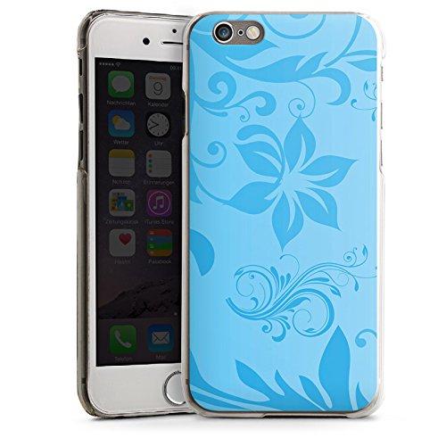 Apple iPhone 6 Housse Étui Silicone Coque Protection Motif floral Vrilles Bleu CasDur transparent