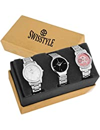 Swisstyle Analogue Black Pink White Dial Women's Combo Of 3 Watch - Ss-3Cmb-03