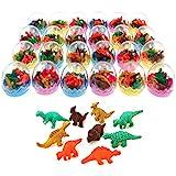 JZK 24 oeufs de dinosaures avec un petit jouet de dinosaure en caoutchouc ensemble de mini-gomme crayon pour les enfants parti faveurs enfants fête d'anniversaire sac pour les garçons filles