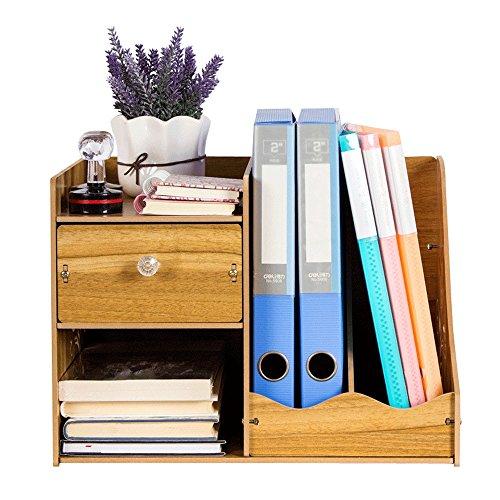 SJ Bücherregal Holz Schreibtisch Zubehör Desktop Lagerregal Datei Magazin Rack Multilayer Schublade Größe 39x28x27.5cm ( Farbe : A ) (Datei Rack Für Die Schublade)
