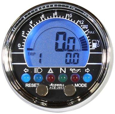 Acewell ACE-2853 - Tachometer und Drehzahlmesser mit Kraftstoffanzeige rund chrom