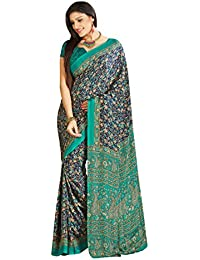 Florence Green & Blue Crepe Daily Wear Printed Beautiful Saree With Blouse