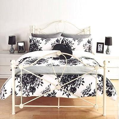 Luxury Florence Floral Leaf Flowers Black & White Duvet Set Quilt Cover Bedding