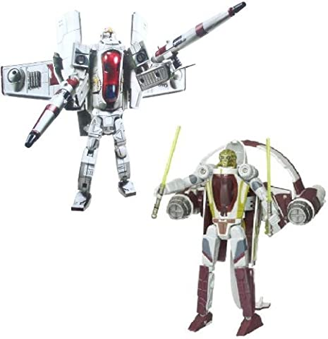 Star Wars Transformers Crossovers Blockbuster 2 Pack 7 Inch Tall Figure Set - Clone Pilot to Republic Gunship with 2 Missile Launcher and Kit Fisto to Jedi Starfighter with 2 Lightsabers by Star Wars