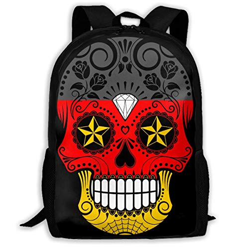 YOUVVI Rucksack,Schulrucksack,German Flag Sugar Skull Backpack Laptop Bags Shoulder Bag College Daypack Backpacks for Unisex (German Flag Bag)