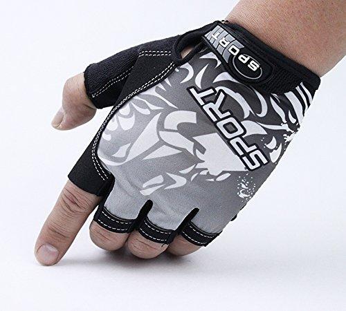 SOOJET Halbfinger Fahrradhandschuhe Handschuhe Gel Padded Rutschfeste Atmungsaktive Handschuhe Mountainbike Reiten Outdoor-Sport Für Herren und Damen (Grau, L)