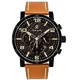 Pierre Lannier - 237D439 - Week End Natural - Montre Homme - Quartz Chronographe - Cadran Noir - Bracelet Cuir Marron