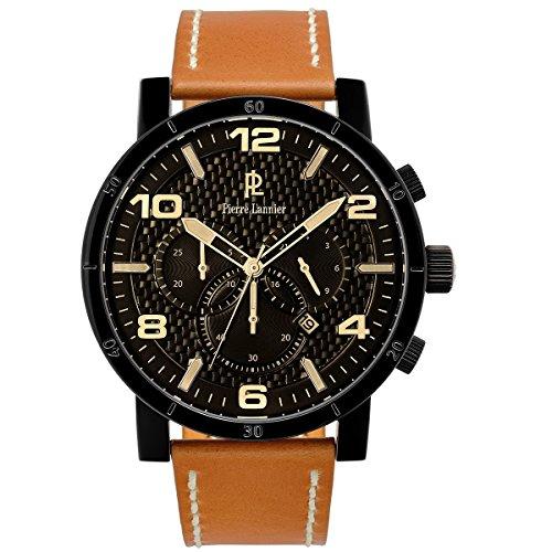 Pierre Lannier–237d439–Week End Natural–Reloj Hombre–Cuarzo Cronógrafo–Esfera Negra–Correa Piel Marrón