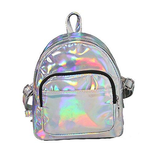 Windwelle Damen Laser Kunstlederrucksack Schultasche Rucksack Backpack Für Reisen Photography (Silber-S) Silber-S