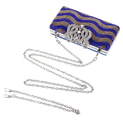 Damara® Luxus Glitzer Damen Hart Clutches Mit Strassverschluss Gold