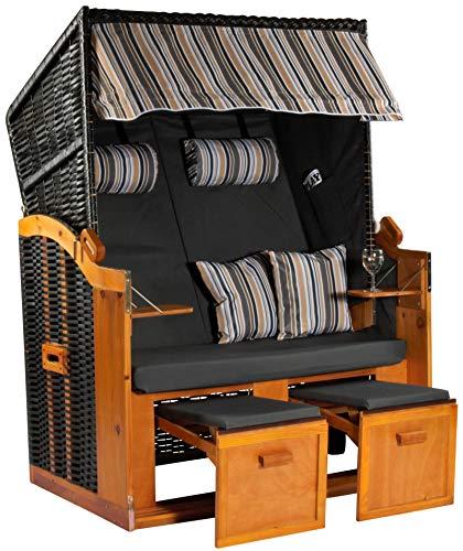 Möbelcreative Strandkorb Ostsee XXL Volllieger 2 Sitzer - 120 cm breit - anthrazit Oliv blau inklusive Schutzhülle, ideal für Garten und Terrasse