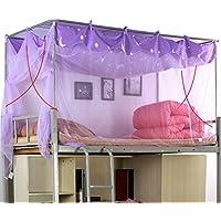 Moskitonetz Einzelbett Polyester Atmungsaktiv Lila Beige Moskito-Kontrolle Reißverschluss Staub Passt ein 3,3-Fuß-Bett