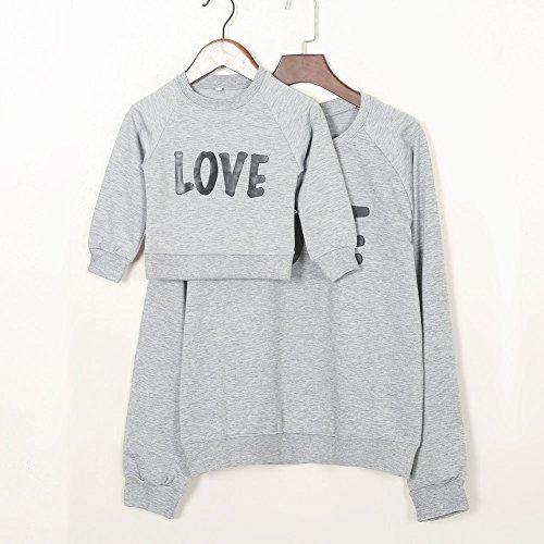 Minetom Maman Et Bébé Enfants Imprimé Col Rond Manches Longues Sweat-shirt Tops Mignon Fille Garçon Pullover Vêtements De Famille Gris + Noir
