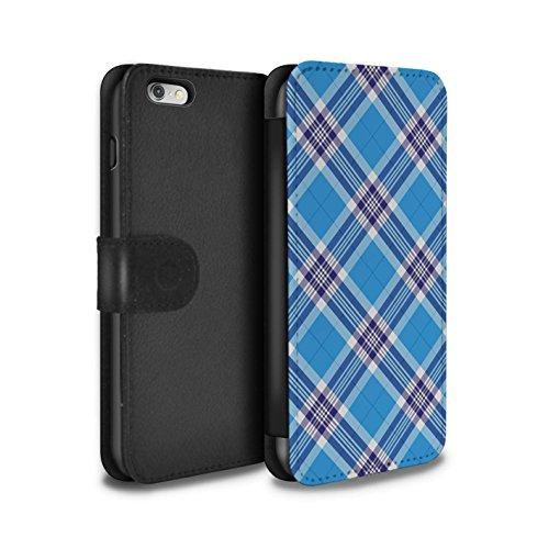 Stuff4 Coque/Etui/Housse Cuir PU Case/Cover pour Apple iPhone 6S+/Plus / Rouge Foncé Design / Tartan Pique-Nique Motif Collection Bleu Clair