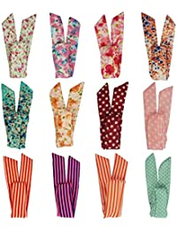 LilMents 12 Mixed Designs Retro Wire Bunny Ears Hair Tie Headband Head Scarf Lot Set
