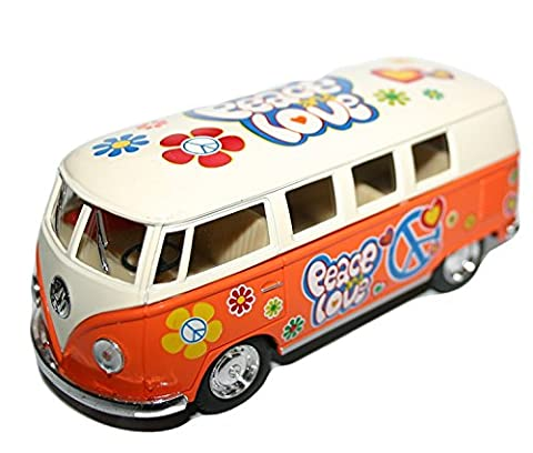 VW Motoring Volkswagen 1:32 Scale Model Peace Love Flower Power Auto Vehicle