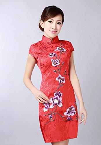 Bigood Cheongsam Qipao Femme Manche Courte Mariage Fleur Elégant Rouge