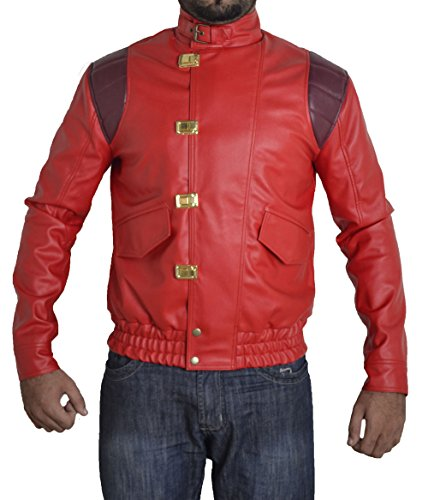 BSKULL Mens Akira Veste en Cuir Manga V1 Faux Original (Medium) Rouge