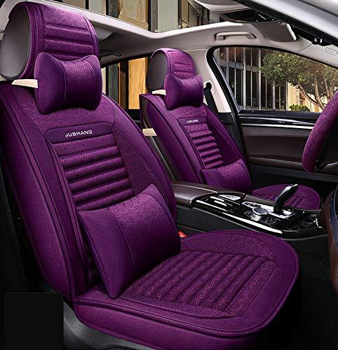YJF-QCZT PU Leder Autositzbezüge Set, Leinen Buchweizen Autositzkissen Vorder- und Rücksitzschutzbezüge Autozubehör Interieur (Color : Brown),Purple