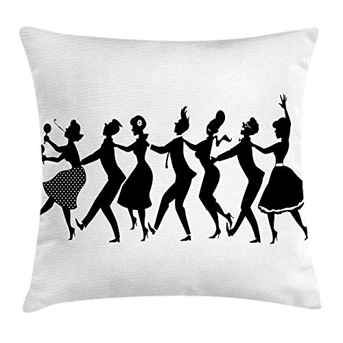 VICKKY Dance Throw Pillow Cushion Cover, Silhouette of Group of People in Late 1950s Early 1960s Fashion Dancing Conga Line, Decorative Square Accent Pillow Case, 18 X 18 Inches, Black White