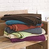Ibena Kuscheldecke Stockholm, 100% Baumwolle, Tagesdecke dunkelbrau - braun, Bio- Baumwolldecke 140x200cm, angenehm Baumwolldecke in Einer hochwertigen Qualität, harmonische Farben