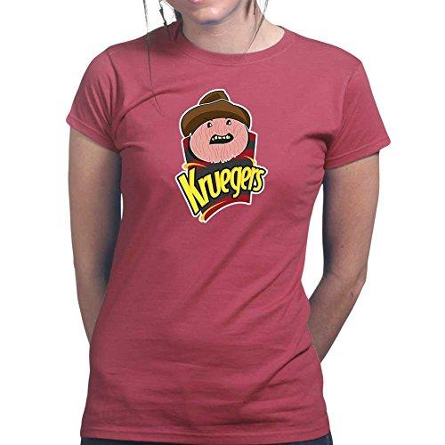 Womens Freddy Krueger Chips Halloween Mask Ladies T Shirt XS Maroon