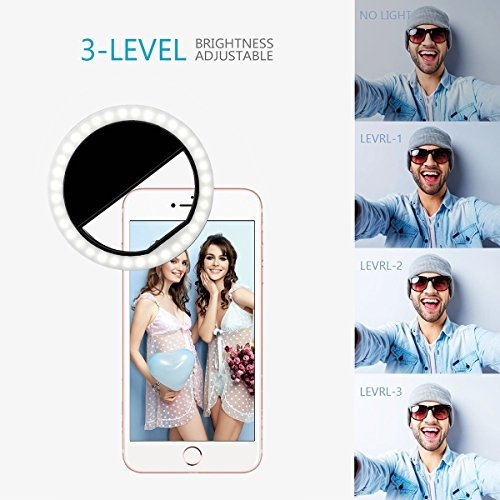 Yiiyaa Selfie Kamera Ringlicht Für Handy LED Ringleuchte Ring Licht Fotolicht, Dimmbar Aufsteckbar Wiederaufladbar mit 4 Ebene Helligkeit Universell Für iPhone 7, 7 Plus, 6S, 6, 5S, Samsung. Schwarz