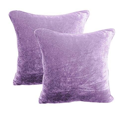 BRIGHTLINEN 2Kissen Bezug 100% Baumwolle Samt Hotel Qualität Fadenzahl 600, Samt, Lavendel, 24InchesX24Inches - Lavendel Samt