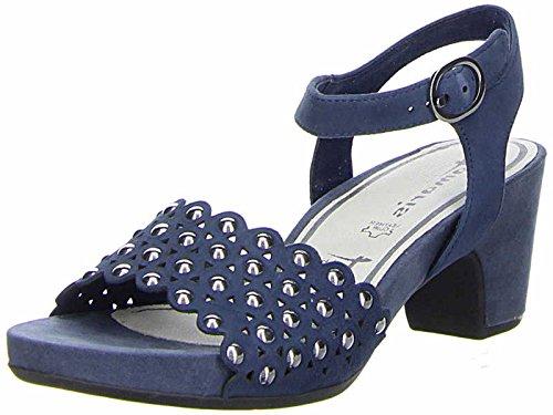Tamaris Schuhe 1-1-28385-38 Bequeme Damen Sandalette, Sandalen, Sommerschuhe für Modebewusste Frau, Blau (Jeans), EU 39 (Denim Blau Sandalen)