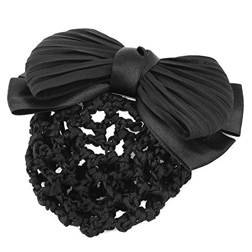 Haar-clip-cover (sourcingmap® Damen 2 Schichten Bowknot Dekor schwarz Brötchen Cover Net Haar Clip Haarspange)