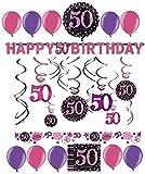 50.Geburtstag Dekoration Deko-Set 'Sparkling' Pink Rosa Happy Birthday Partykette Girlande Konfetti Fünfzig Jahre