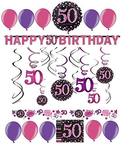 50.Geburtstag Dekoration Deko-Set 'Sparkling' Pink Rosa Happy Birthday Partykette Girlande Konfetti Fünfzig Jahre (Fünfzig Dekorationen Geburtstag)