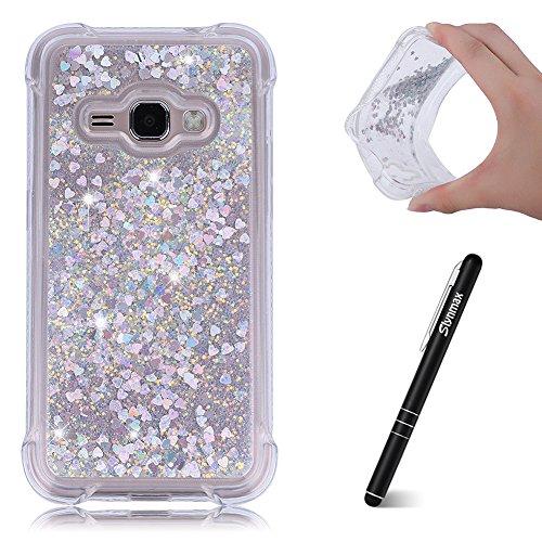Slynmax Kompatibel mit Samsung Galaxy J1 2016 Hülle,Samsung Galaxy J1 2016 Handyhüllen Silikon Treibsand Case Weich Durchsichtige Handytasche Glitter Tasche Bumper für Samsung Galaxy J1 2016,Silber