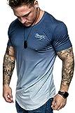REPUBLIX Oversize Herren Crew Neck Body-Fit Waterfall Design Shirt Sommer T-Shirt Rundhals-Ausschnitt R-0037 Navyblau/Weiß M