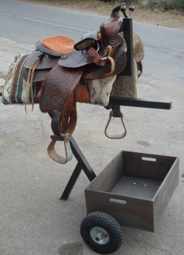 Praktischer Sattelwagen mit Holzbox / Super geeignet als Begleiter für Stall und Turniere / Sattel-Caddy Sattel Pferd Stall (Kupplung Sattel)
