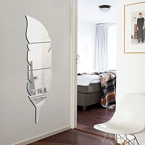 soloo - specchi decorativi adesivi da parete a forma di piuma, per ... - Specchio Per Camera Da Letto