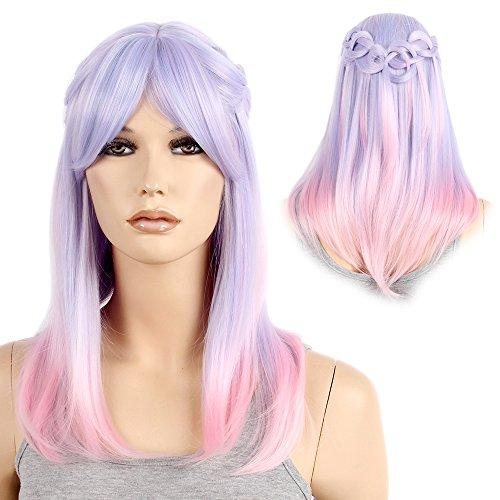 Stfantasy spalla lunghezza ombre treccia parrucca capelli lunghi e lisci lolita per donne costume di halloween 48,3cm viola rosa