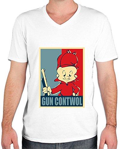 elmer-fudd-gun-contwol-poster-funny-mens-v-neck-t-shirt-xx-large